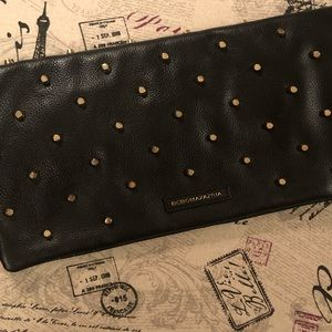 NWT BCBG MAXAZRIA Clutch Leather Gold Studs